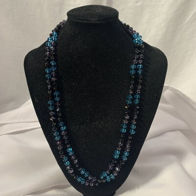 Alternating Black, Blue & Purple Faceted Rondel Crystal Bead Knotted Necklace  length approx 65cm