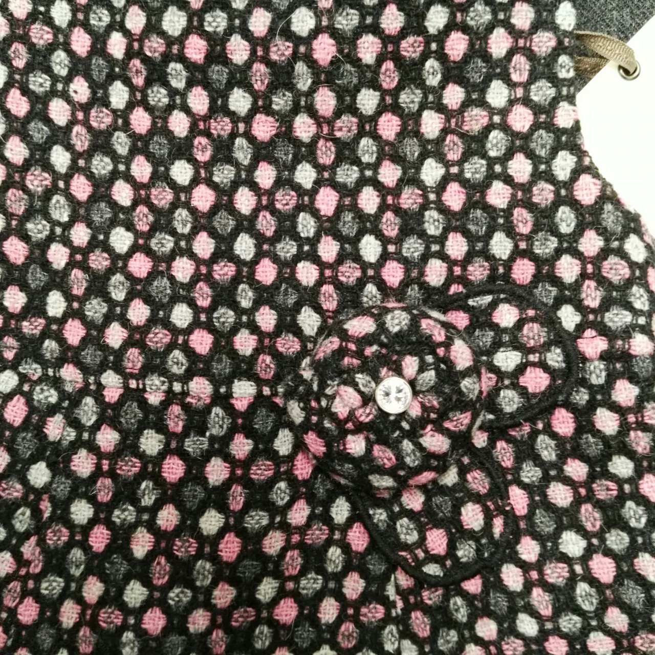 "BNWT ORIGAMI Sweet Girls Wool Blend Dress ""Climbing Rose"" Size 0 Pink Black Grey"