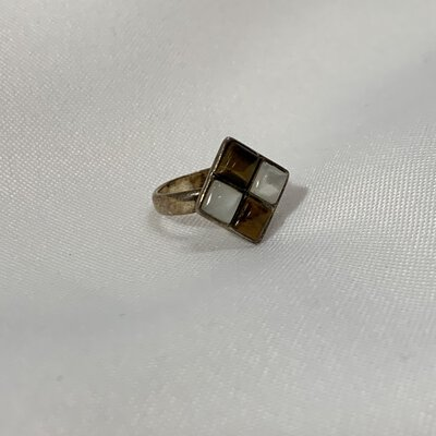 Stamped Silver Ring With Square Mother of Pearl & Tigers Eye Cabochons