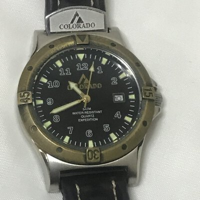 Colorado Men's Watch - Water Resistant Quartz Expedition, With Date Display and Leather Band