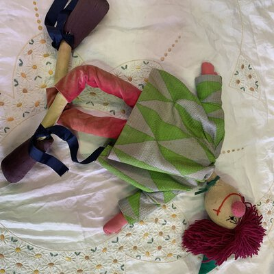 Clown ragdoll, handmade, mixed colours, used fair, body parts stitched together to make whole