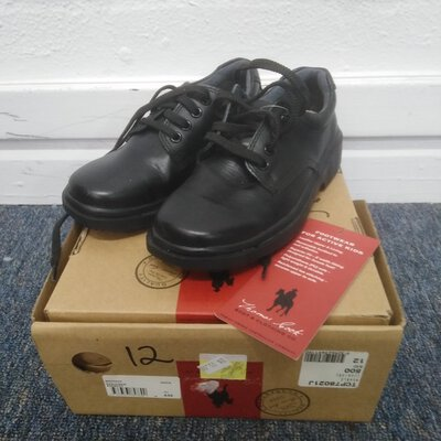 Kids Black Lace Up Shoes Size 12 Leather Upper New With Tags