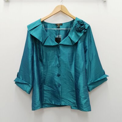 BNWT BARBARA JANE COLLECTION Teal Evening / Cocktail Shirt/Jacket Size 18