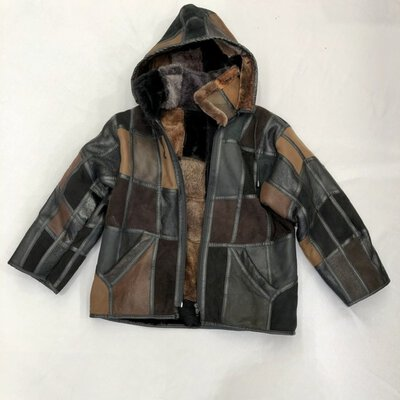 REDUCED - UNBRANDED - Kids - MULTI COLOUR BROWN/BLACK PATCH-WORK JACKET Size S