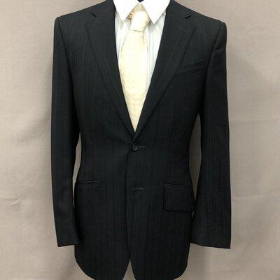 Versace Mens Suit Size: 48R Small Black/ Navy Stripe Wool