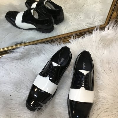 Dobell Men's Black And White Patent Tuxedo Shoes Size US8