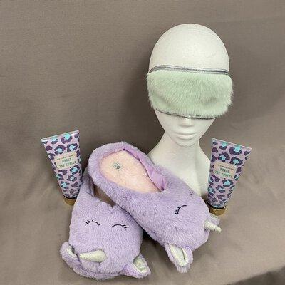 Purple Unicorn Slippers & Sleep Eye Mask + Victoria's Secret Fragrance Lotion Gift Set
