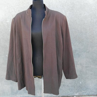 Mirrors Women's Lined Jacket -Brown with Zipper Front Size 20