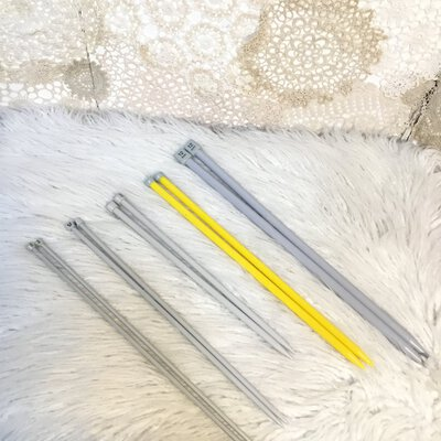 5 Pairs Of Knitting Needles Sizes 12mm, 10mm, 8mm, 6mm, 5mm,