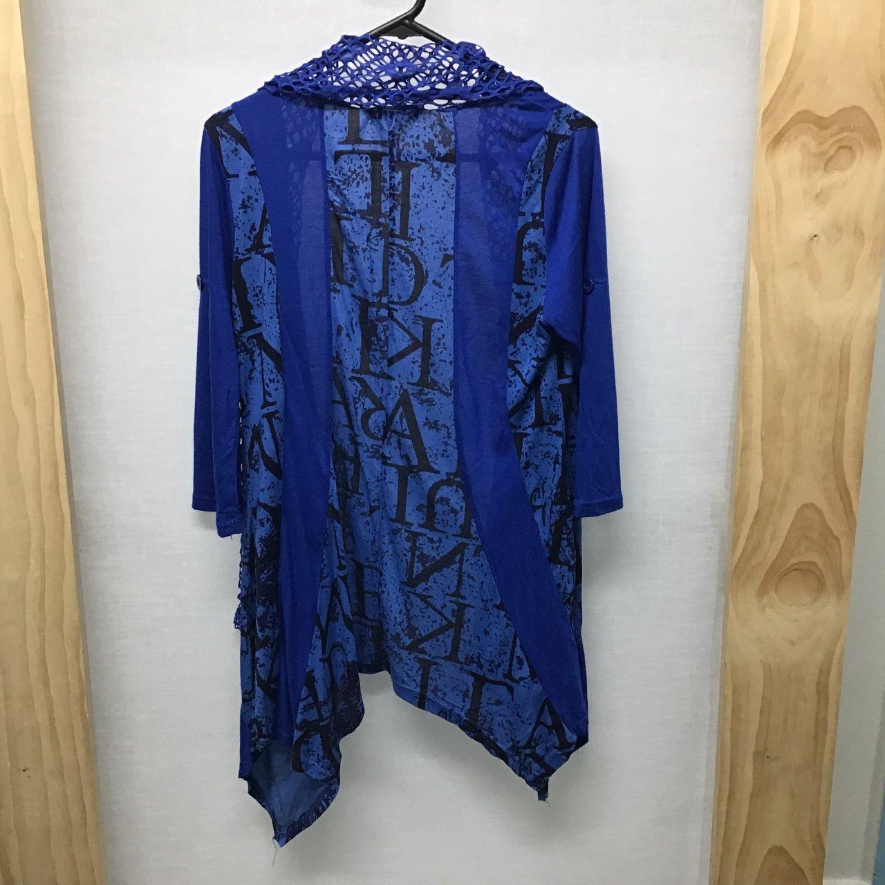 Caroline Morgan, Blue and black cardigan, Size 10
