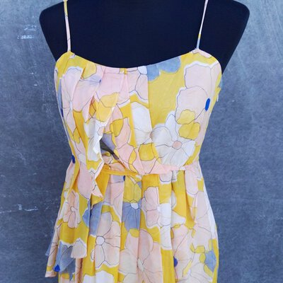 Country Road Womens Silk Floral Summer Dress Size 10 shoestring straps
