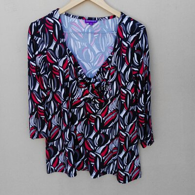 Suzanne Grae Womens Long Sleeve Multicoloured Top Size XL