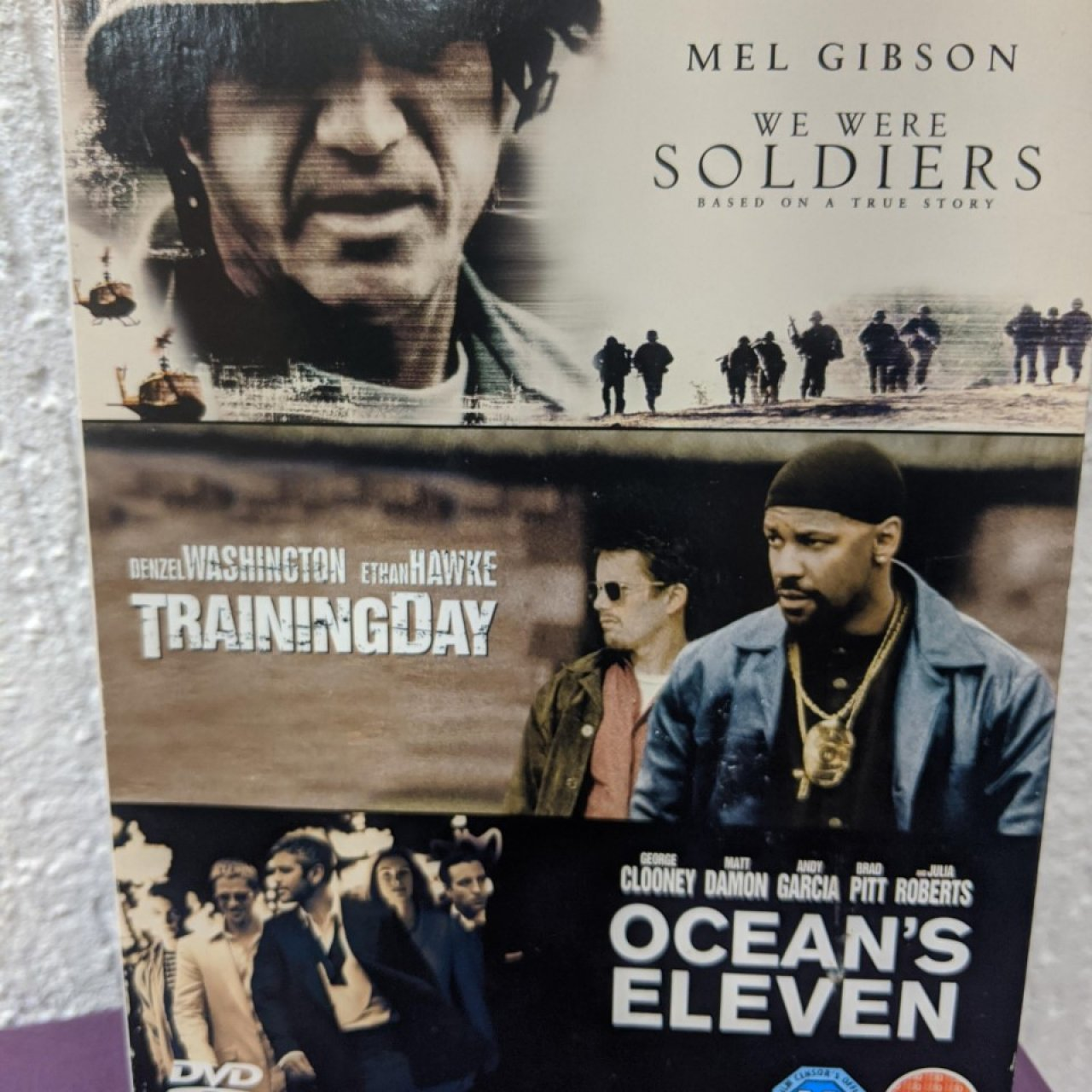 We were soldiers, Training Day and Oceans Eleven -3 dvds