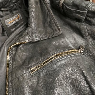 Womens INDUSTRIE  Black Leather Biker Jacket Size XL