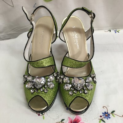 Zoe Wittner Women's Glittery Green/Studded Heel Sandals, Size 38