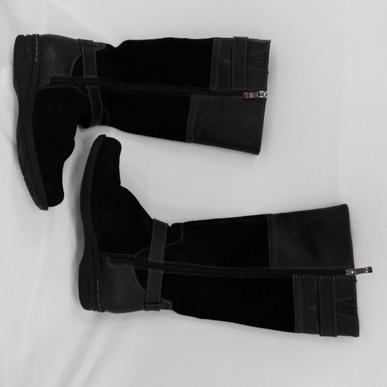Black BJORNDAL Women's Boots Long Zip Up Sides Leather Upper Size 7