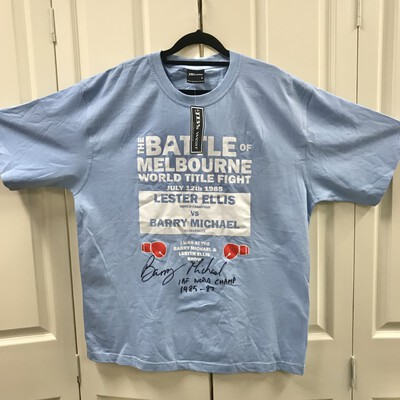 REDUCED - Autographed Barry Michaels 1985 Title Fight T-Shirt