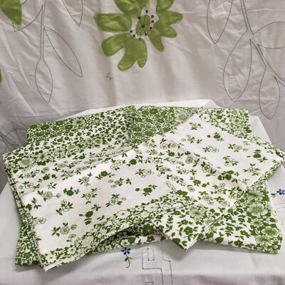 Glory Box Cotton Bed Sheets with Pillowcases,Green/White Floral Print, Unused, Retro