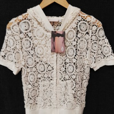 BNWT PIPING HOT Womens Cream Colour Lace Zipper Front Shirt With Hood Size 10