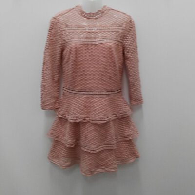 "BNWT PRETTY LITTLE THING Dusty Pink ""Crotchet Style"" Dress Size 10"