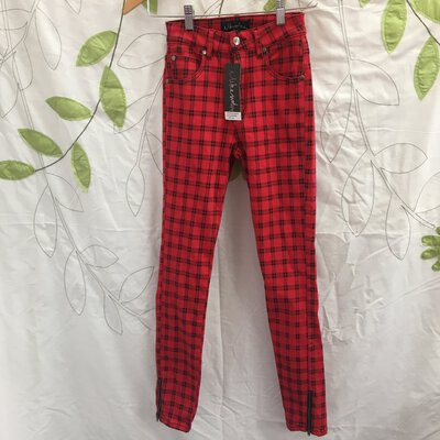 I Like Wolves Women's Chequered Pants, Red/Black, Size XS, BNWT