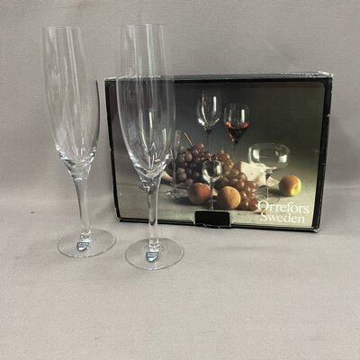 Orrefors Illusion Clear Champagne Flute Glasses Pair Set