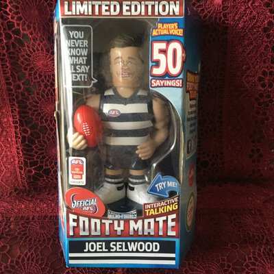 ** Limited Edition**Joel Selwood Interactive Talking Footy Mate Figurine, AFL Official, Brand New
