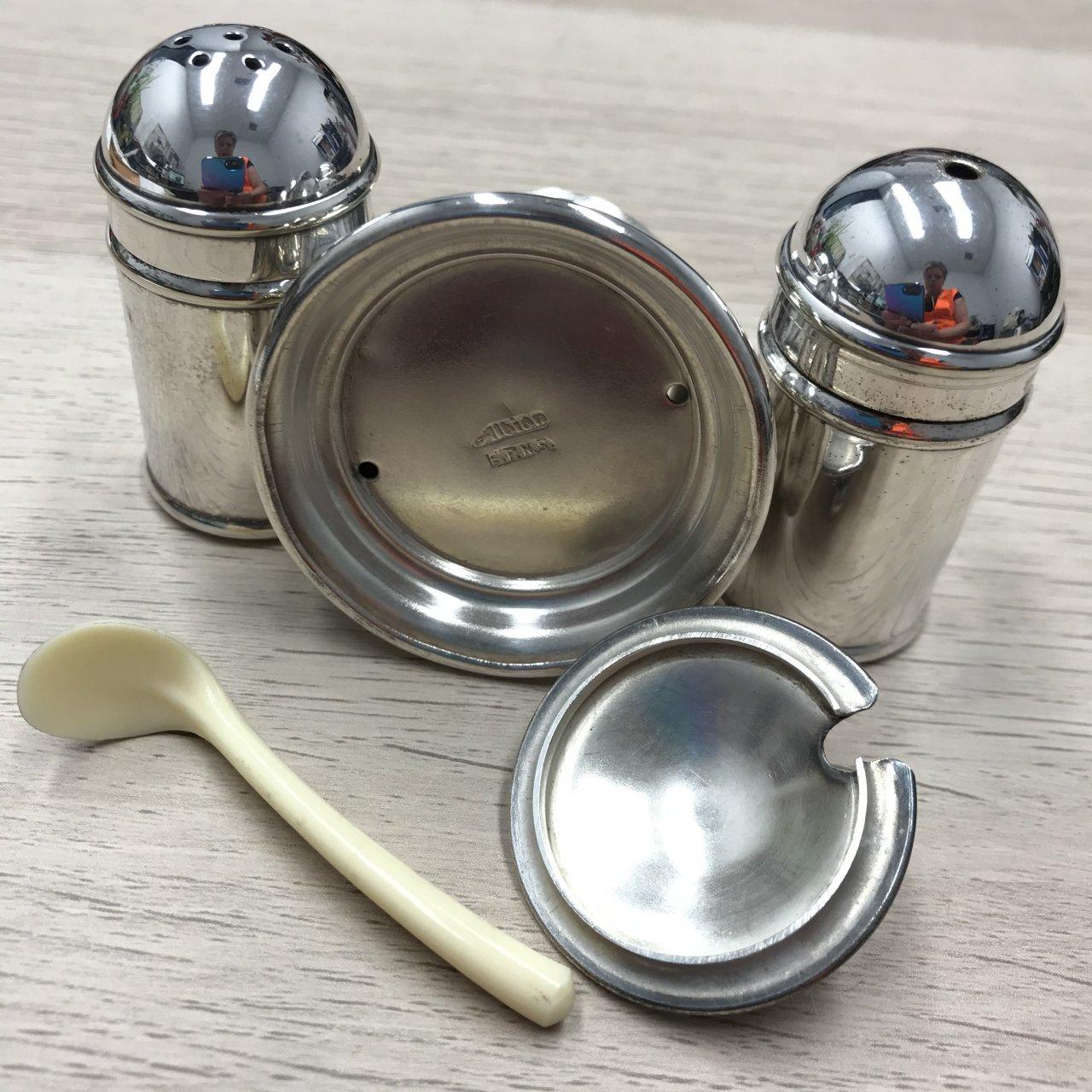 Albion EPNS Cruet Set, Salt, Pepper & Mustard Cellar Pot With Spoon