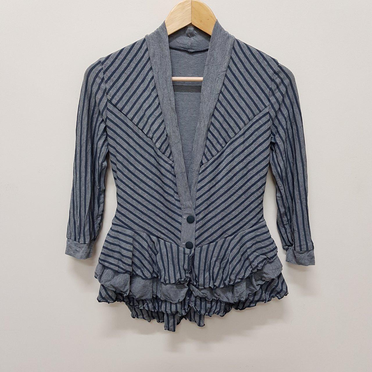 Mesop Ladies Stripe Crop Frill Jacket Size 1. BNWT