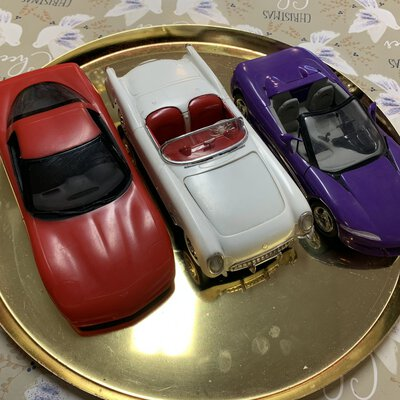 X3 model cars, colours purple, red and white, good condition, hand made