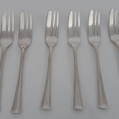 Coronation silver plate cake forks x6
