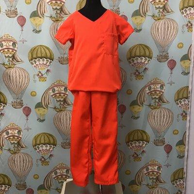 Halloween Costumes Kids' Prisoner Garb Size CH-M Fluoro Orange