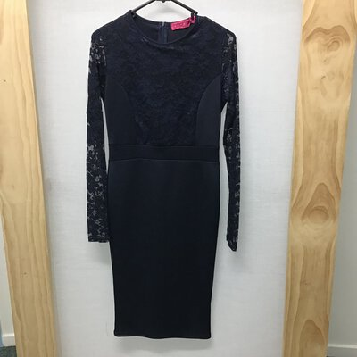 BooHoo, Dark navy blue lace long sleeve dress, Size 10, New With Tag