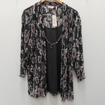"BNWT Millers Womens Long Sleeve Top with ""Detatchable"" Necklace Grey & Floral Size 20"