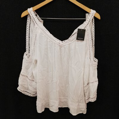BNWT JUST JEANS Women's Boho Style Open Sleeve Summer Top Size 6 White