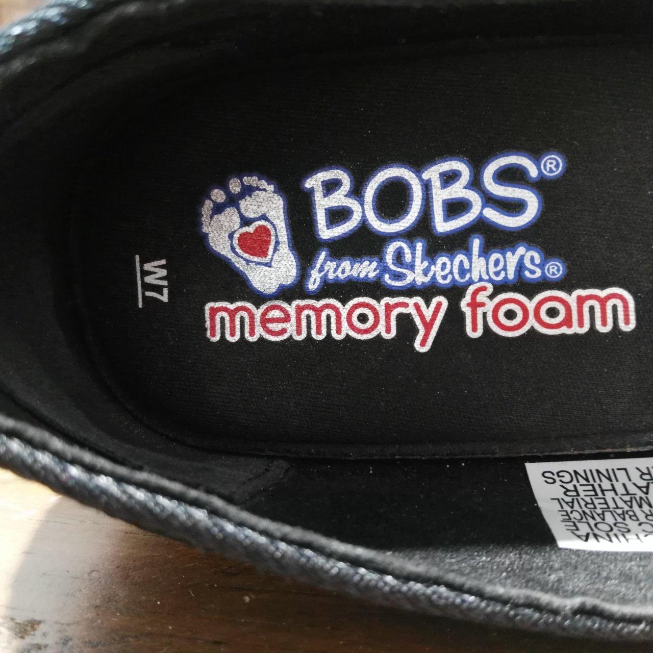 """Women's SKECHERS """"BOB"""" Summer Shoe Black Embroidered Size 7 Memory Foam"""