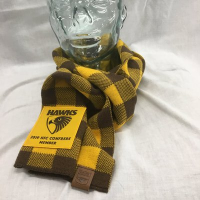 Hawks 2019 Confrere Member  Check Scarf Pure Wool