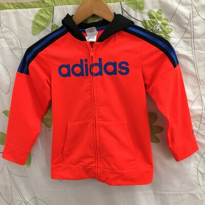 Adidas Kids Orange/Blue Zipper Hoodie, Size 7